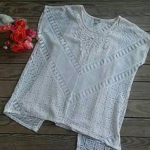NWOT Cream Crochet Blouse